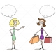Shopping ladies vectors, ladies are shopping with speech bubble vector