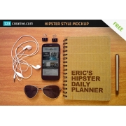 hipster style mockup template free, hip style mockup free, retro notepad mockup free
