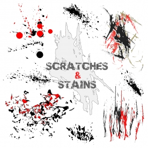 Scratches and stains vectors - graphic elements