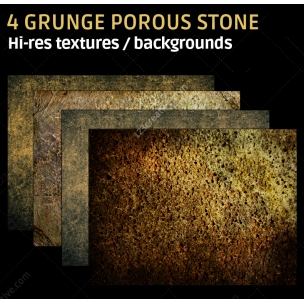 4 Grunge porous stone textures (high resolution)