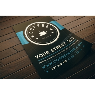 Cafe restaurant flyer template PSD (dark design)