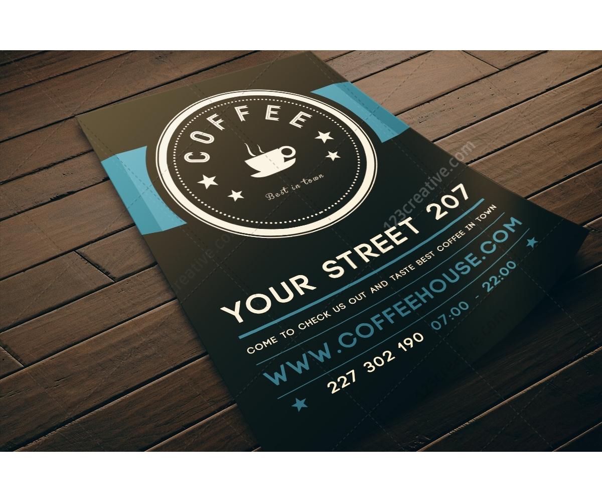 1210 Cafe Restaurant Flyer Template Psd Dark Design