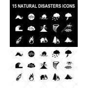 natural disasters icons, natural disaster icon set, environmental icons, earthquake, hurricane, tornado, volcano