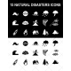 natural disasters icons, natural disaster icon set, environmental icons, earthquake, hurricane, tornado, volcano