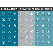 social media icons with shadow, flat social media icons, round social icons, square social icons