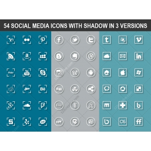54 Social media icons with shadow in 3 versions