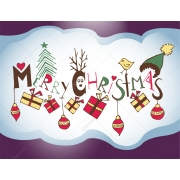 Merry Christmas title Happy Christmas vector illustration, Christmas Greeting card