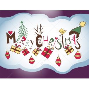 Merry Christmas title Happy Christmas vector illustration, Christmas Greeting card