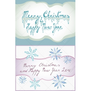 Merry Christmas and Happy New Year lettering - Christmas Greeting card illustrations