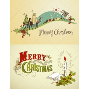 Nativity scene and Christmas candle vector illustrations