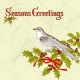 Seasons Greetings with dove and holly vector illustration