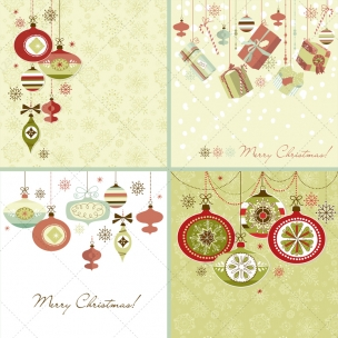 4 Retro Christmas card vector illustrations