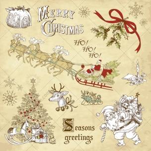 Vintage Christmas vector illustrations