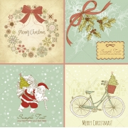4 Merry Christmas vector cards
