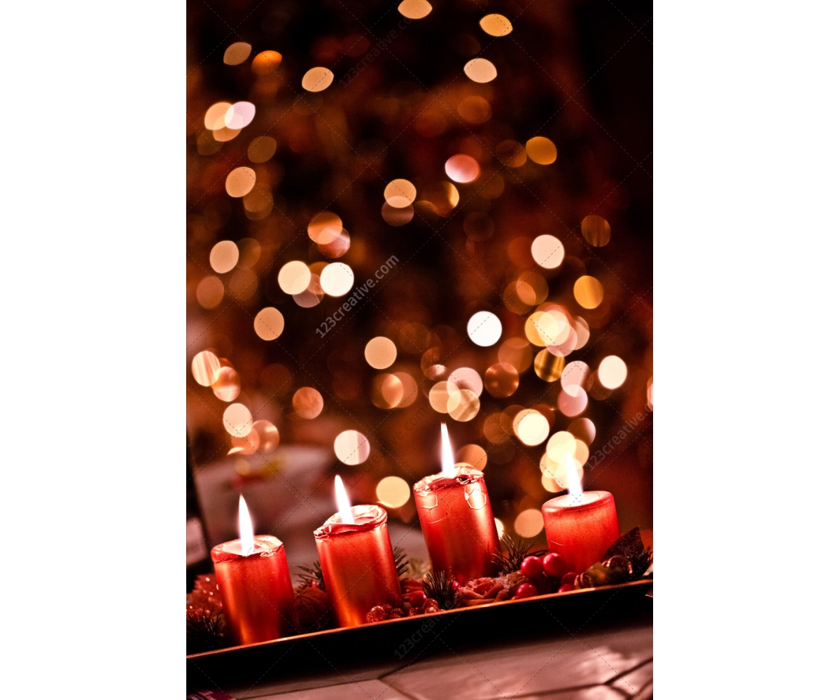 Christmas Candles Card Background Stock Photo