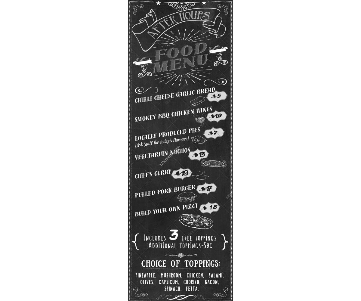 Retro chalkboard food menu template pizza snack bar