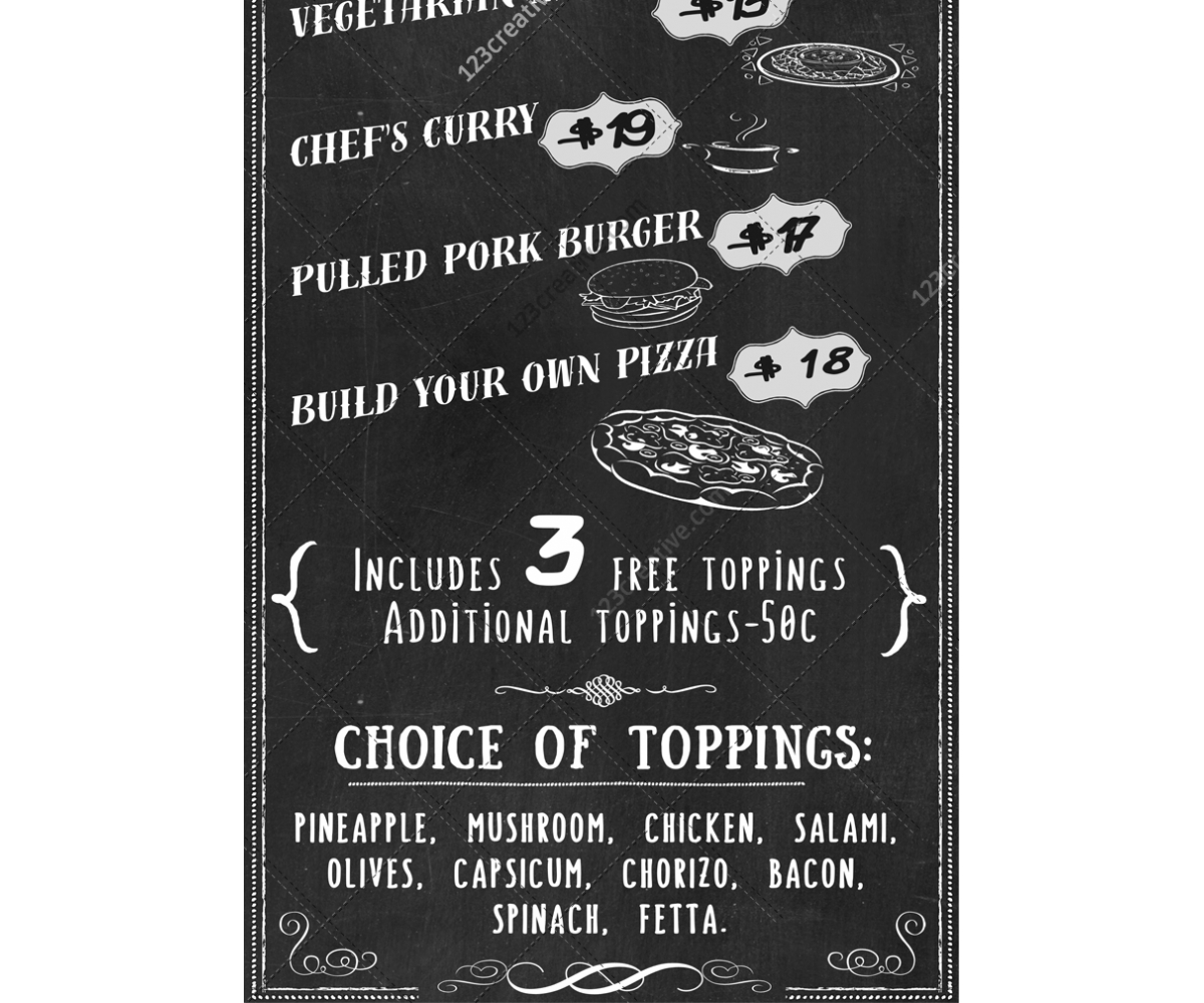 Retro Chalkboard Food Menu Template