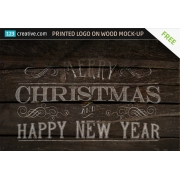 Printed Logo on wood Mock-up free, logo on wood background Mockup free