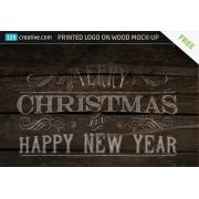 Printed Logo on wood Mock-up free, logo on wood background Mockup free