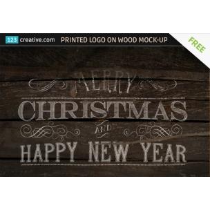 FREE Printed Logo on wood Mock-up