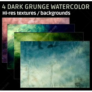 4 Dark grunge watercolor backgrounds (digitized)