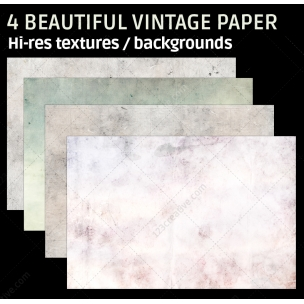 4 Beautiful vintage paper backgrounds (digitized)