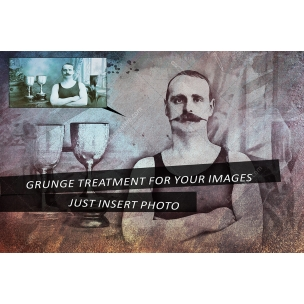 Grunge image effect with 6 color options and splashes