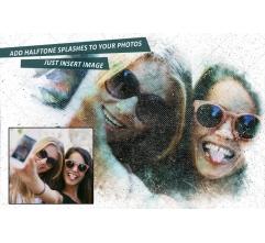 Photoshop Halftone effect with splashes