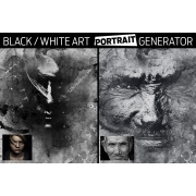 Black and white art portrait generator in Photoshop, modern black and white in photoshop