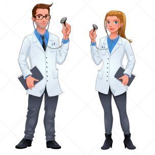 Doctor vector characters - man and woman
