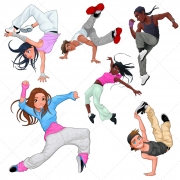 breakdance vector characters, modern dance vectors, hip hop dancer vector