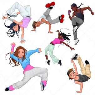 Breakdance vector characters - modern dance vectors