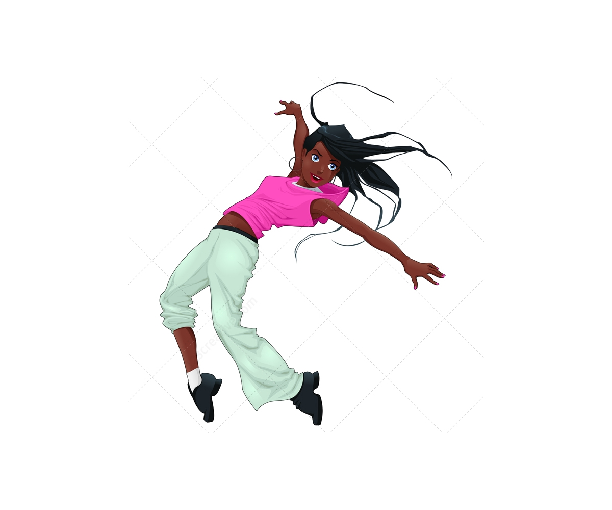 Cartoon Characters Dancing : Breakdance vector characters hip hop dancer