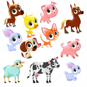 Cute farm animal vector set - farm baby animals