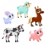vector illustration of farm animals, cartoon cow vector, cute sheep vector, cartoon pig vector,