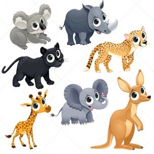 Funny exotic animal vector set - safari, zoo, Africa animals