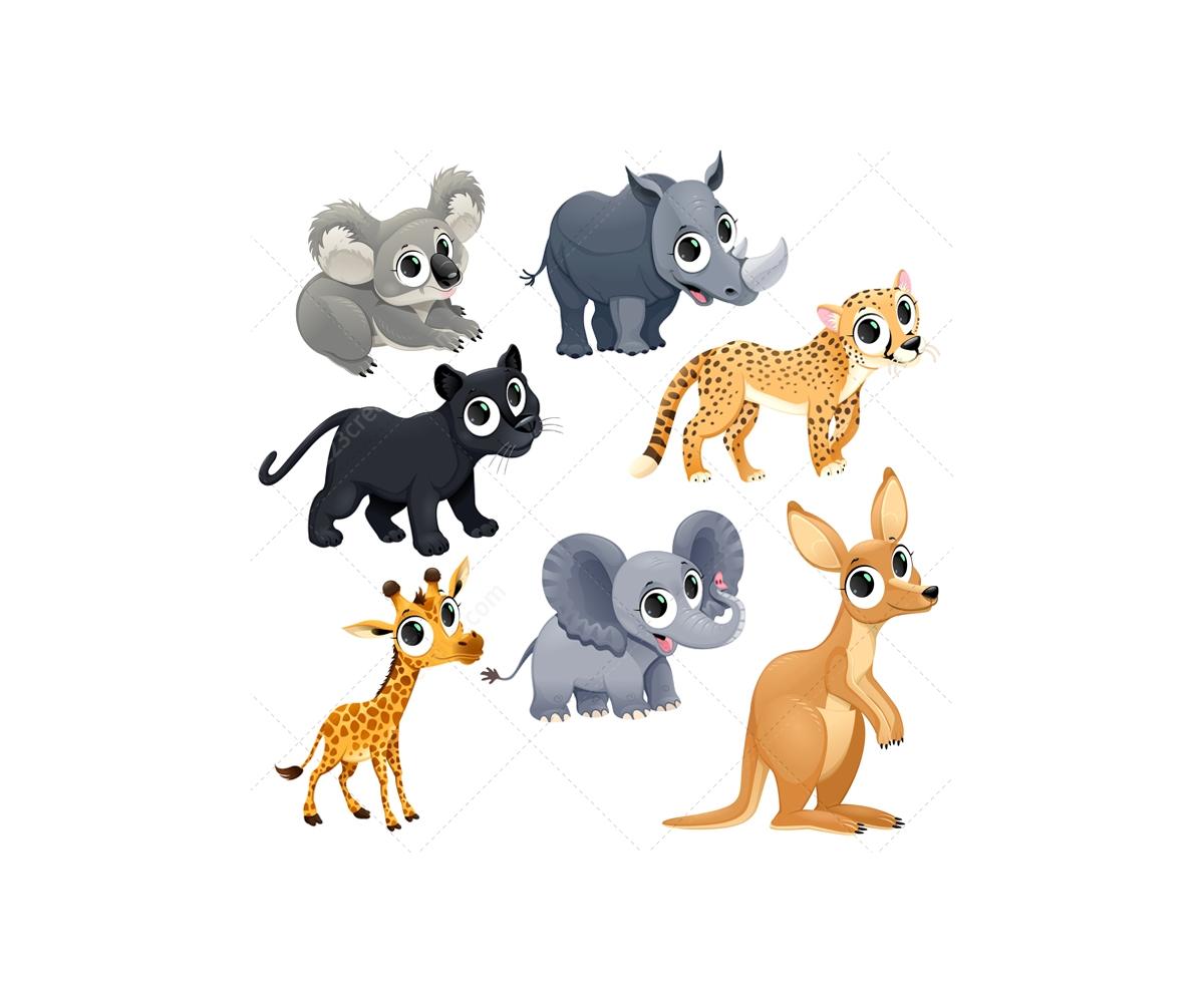 Funny exotic animal vector set - safari, zoo, Africa ...