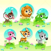 cartoon exotic animal vector set, jungle animal vectors, cartoon animal vectors