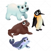 North pole animal vector set, smiling cartoon animals vector, small cute polar animals, vector, funny sea bear vector