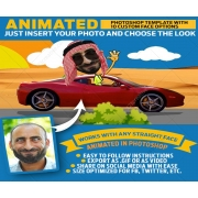 photoshop animated GIF, animated gif image, cartoon face mockup scene