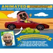 photoshop animated GIF, animated gif image, cartoon face mockup scene
