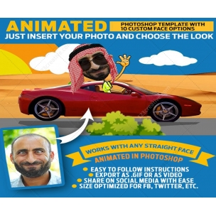 Cartoon face mockup scene - Photoshop animated GIF