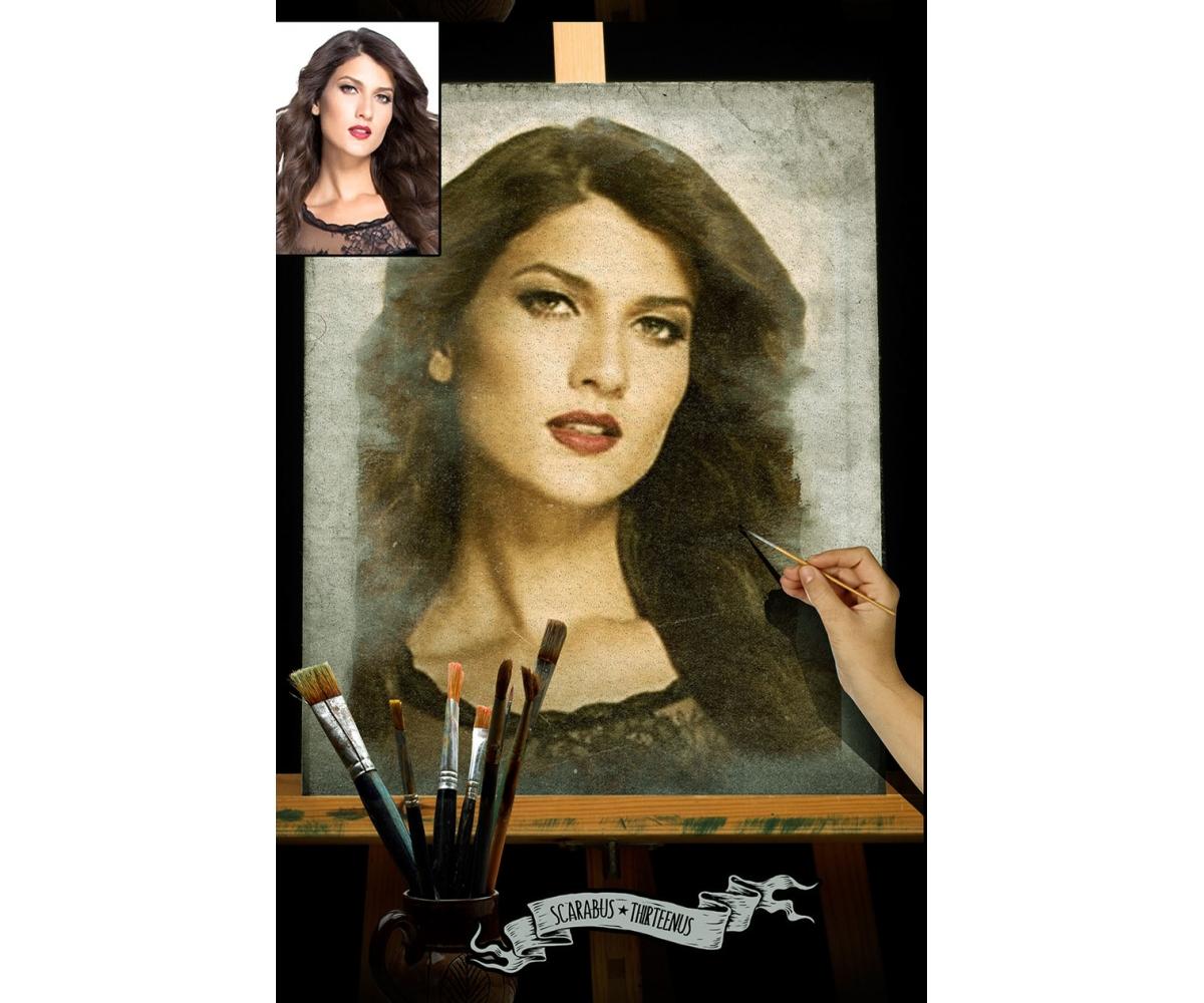 Brush painting mockup - watercolor paint mockup PSD template