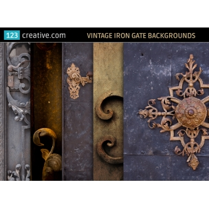 5 Vintage iron gate backgrounds - stock photos