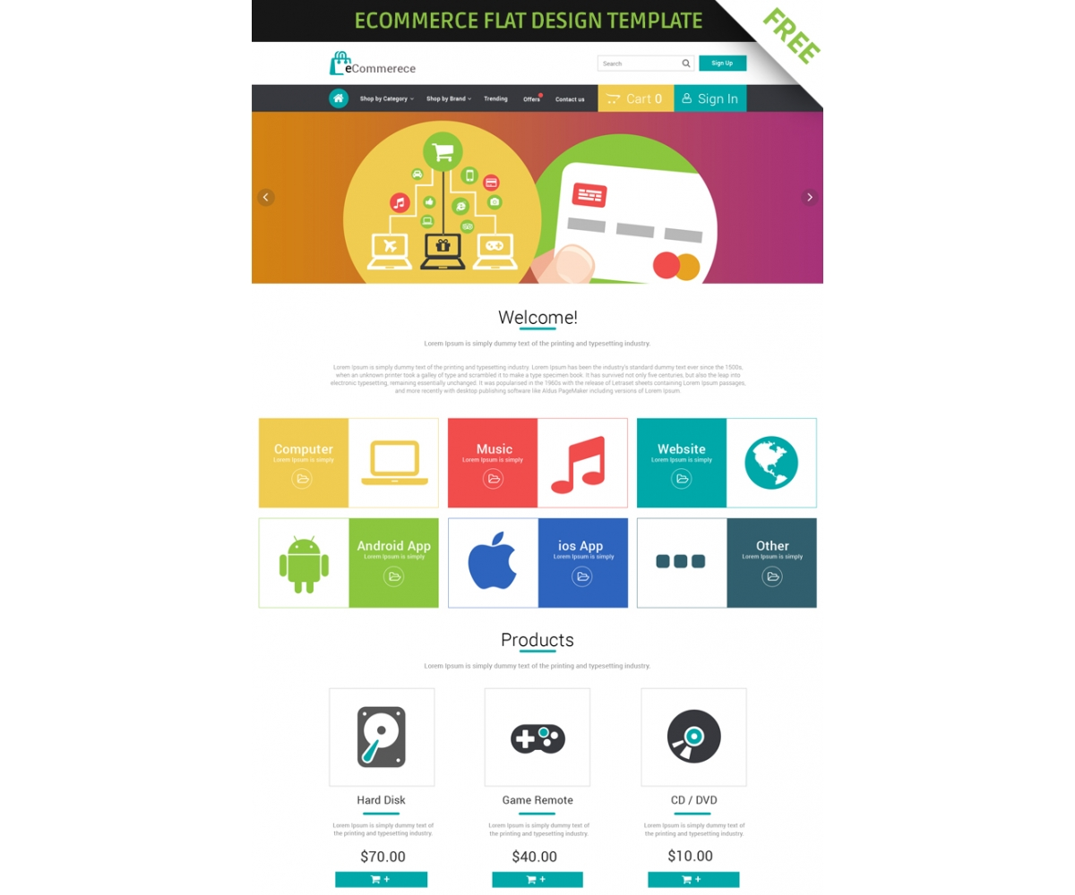 Free Ecommerce Flat Design Template Creative Professional E