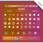 Free eCommerce flat UI Kit, free social media icons, free e commerce icons