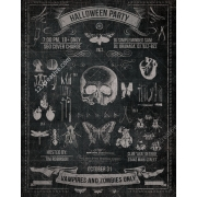 vintage halloween party flyer template, halloween flyer template psd