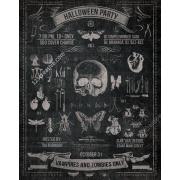 vintage halloween party flyer template, halloween flyer template psd