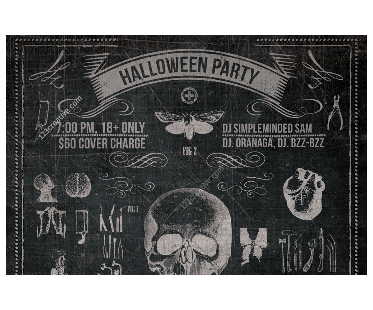 vintage halloween party flyer template