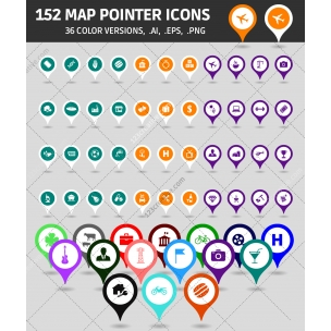 152 Map icons (AI, EPS, PNG) - Map pointers in various colors
